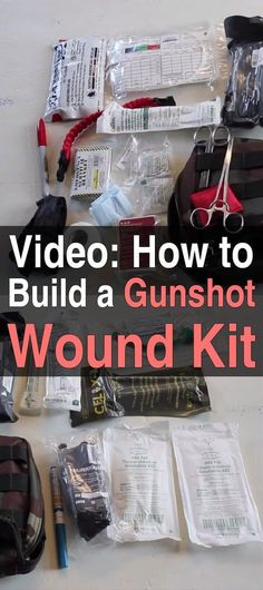 How to Build a Gunshot Wound Kit - In this video, you'll learn what medical supplies you need to have on hand in case you or someone you care about gets shot. First Aid Kit Gun Shot Kit for Your First Aid Box DIY Emergency Kit Urban Survival, Survival Food, Survival Prepping, Survival Skills, Wilderness Survival, Survival Stuff, Survival Weapons, Survival Hacks, Homestead Survival