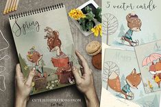 9 lovely illustrations-fox and fawn by Eve_Farb on @creativemarket