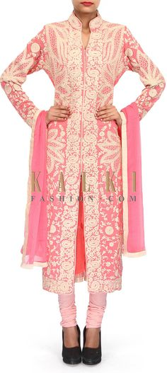 Buy Online from the link below. We ship worldwide (Free Shipping over US$100). Product SKU - 304788.Product Link - http://www.kalkifashion.com/pink-suit-embellished-in-thread-embroidery-only-on-kalki-18560.html