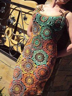 Crochet dress, colors are lovely