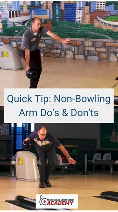 One thing that naturally happens when throwing a bowling ball is that the non-bowling arm or balance arm comes back behind your body. In this Quick Tip, coach Erik Vermilyea with Track explains what happens with your shoulders when your balance arm's hand has the thumb pointed in the down position, as opposed to the up position throughout the bowling approach. Bowling Tips, Bowling Ball, Comebacks, Balls, Track, Arm, Sports, Hs Sports, Runway
