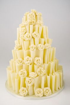 White Chocolate Folds With Chocolate Roses