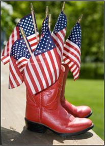 Little red cowboy boots and American flags! Photo by Gooseberry Patch.