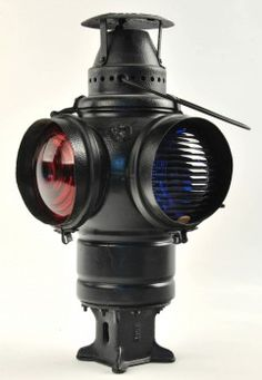 """Round Top Adlake Non-Sweating Switch Lamp with red and blue lenses and square switch post mount base marked 1264. No pot or burner inside. size: 14.5"""" t."""