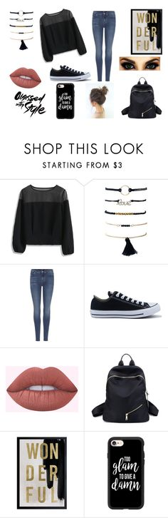 """""""Wonder"""" by rahi445 on Polyvore featuring Chicwish, 7 For All Mankind, Converse, Oliver Gal Artist Co. and Casetify"""