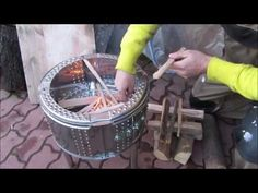 Simple and quick fire pit from a washing machine drum - YouTube