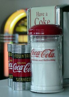 Coca-Cola Salt Shakers, Sugar Dispenser & Napkin Holder.