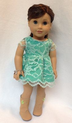 """Green lace dress for 18"""" dolls fits American Girl Doll by JulesNmeDollDesigns on Etsy https://www.etsy.com/listing/221802916/green-lace-dress-for-18-dolls-fits"""
