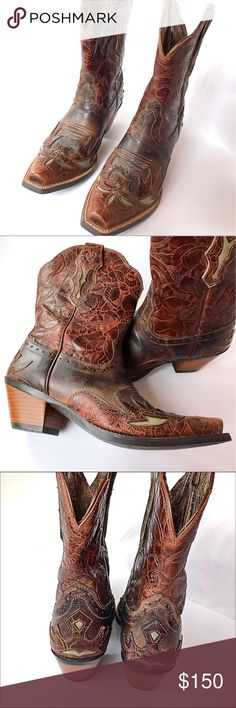 Stunning Ariat Western Boots!  Brown & turquoise. Gorgeous reddish-brown leather Ariat Western boots with turquoise-gray accents.  These are like new - only worn once!  Ariat style 10008781. Ariat Shoes Heeled Boots