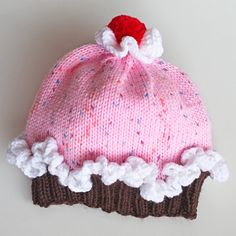 Baby Cupcake Hat With Sprinkles and Red Pom Pom. Girl 6 to 12 Months Knit Cake Hat. Pink and Brown Beanie. Infant Birthday Cupcake Cap