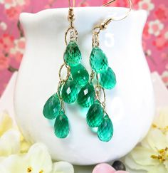 Reserved for Yvonne  Emerald green quartz gold by KBlossoms, $89.00
