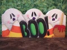 Painted Pavers Decorative Painting Packet 8002 BOO Paver by OilCreekOriginals, Painted Bricks Crafts, Brick Crafts, Painted Pavers, Painted Rocks, Hand Painted, Concrete Projects, Stone Crafts, Wood Crafts, Fall Crafts