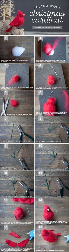 Make your own gorgeous felt cardinal bird to symbolize hope, joy, love, focus and energy. The perfect DIY tutorial by handcrafted lifestyle expert Lia Griffith #needlefeltingtutorials
