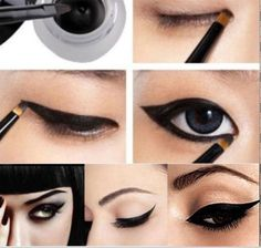 Pro Black Makeup Waterproof Eyeliner Gel Cream Eyes Cosmetic Brush HOT in Health & Beauty Makeup Eyes Eyeliner Hacks, Simple Eyeliner, Perfect Eyeliner, Eyeliner Styles, How To Apply Eyeliner, Gel Eyeliner, Winged Eyeliner, White Eyeliner, Smoky Eye