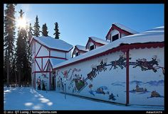 Santa Claus House and sun in winter. North Pole, Alaska, USA,Part of gallery of color pictures of USA by professional photographer QT Luong, available as prints or for licensing. Santa Claus House, Santa Clause, Travel Around The World, Around The Worlds, Solar Solutions, Solar Panel Installation, Winter Sun, Solar Battery, North Pole