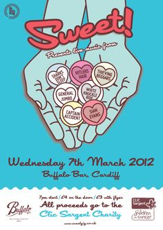 'Sweet' Charity gig / Clic Sargent Cancer Charity - Design: www.bendaviesdesign.com