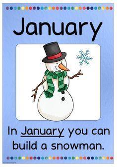 """Monatsplakat """"January""""   In meinem neuen Klassenzimmer habe ich nicht ganz so viel Platz, Plakate etc. aufzuhängen. Daher habe ich meine """"E..."""