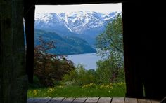 View from an old barn in Ulvik in Hardanger. Snowcapped mountains and the Hardangerfjord in the background.