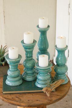 Kalalou Roman Ceramic Pillar Candle Holders – Light Blue – Set Of 5 – Pillar Candles İdeas. Ceramic Candle Holders, Pillar Candle Holders, Candle Holder Set, Candlestick Holders, Candlesticks, Pillar Candles, Candleholders, Regalos Mujer Ideas, Chandeliers