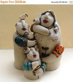 Fathers Day sale ceramic sculpture family sculture mom by ednapio