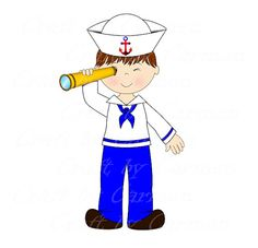 Sailor clip art boat baby boy cute sailor ahoy by CraftbyCarmen Nautical Cards, Nautical Baby, Pirate Kids, Navy Sailor, Royal Marines, Cartoon Pics, Clipart, Baby Boy, Boat