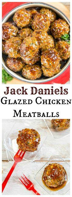 Jack Daniels Glazed Chicken Meatballs - No Spoon Necessary Meatball Recipes, Turkey Recipes, Beef Recipes, Chicken Recipes, Cooking Recipes, Meatball Meals, Corn Dogs, Jack Daniels Glaze, Appetizer Recipes