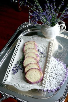 Recipe for Lavender Shortbread Cookies with lemon and mint. These pretty cookies would be lovely to bake for a tea party.