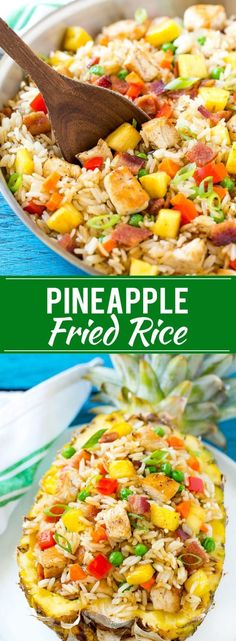 This recipe for pineapple fried rice is loaded with chicken, bacon, crunchy veggies and juicy pineapple. A simple and easy main course or side dish that's MUCH better than take out! (Simple Dinner Recipes For Easy Rice Recipes, Side Dish Recipes, Asian Recipes, New Recipes, Cooking Recipes, Healthy Recipes, Crunchy Rice Recipe, Recipe For Asian Rice, Recipies