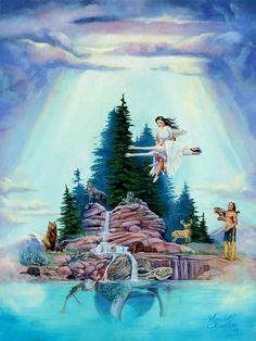 Sky Woman (White Buffalo Calf Woman)  iroquois creation myth sky woman.Aweb turtle.2jpg.jpg Artist MARCINE QUENZER
