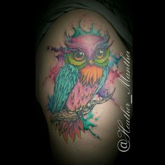 Watercolor owl tattoo. Thanks Carrie!