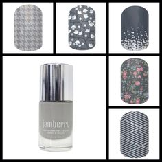 Grey / Silver Jamberry Nails and lacquer combo.