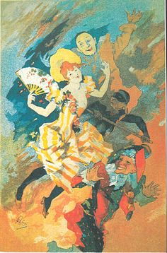 Jules Cheret La Pantomime 1891 Pantomime, Fairy Tales, Book Illustrations, Murals, Posters, Painting, Ads, Wall Paintings, Painting Art