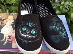 Alice in Wonderland Cheshire Cat Custom Hand-Painted Shoes (Any Whole Size, Men's or Women's) by FlowersAndTheMoon on Etsy https://www.etsy.com/listing/223322185/alice-in-wonderland-cheshire-cat-custom
