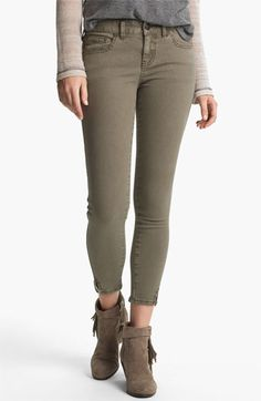 Free People Crop Stretch Denim Skinny Jeans (Mountain Olive)  057438bb851ed