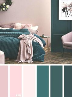 Mauve Bedroom, Small Bedroom Colours, Bedroom Colour Palette, Bedroom Color Schemes, Bedroom Green, Bedroom Decor, Bedroom Turquoise, Teal Living Room Color Scheme, Calming Bedroom Colors
