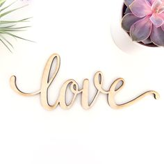 Script Love Wood Sign Wood Sign Art Wooden Love Wood by Woodums Love Wood Sign, Love Signs, Love Letras, Art Amour, Engraved Wood Signs, Wooden Signs, 5 Year Anniversary Gift, Modelos 3d, Love Wall Art