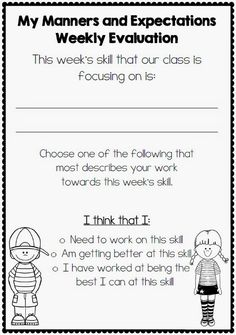 """Way to reflect on the """"Habit of the Week"""". Would probably make them explain their choice and set goals for how they can do better next week or give an example of how they did well this week, etc."""
