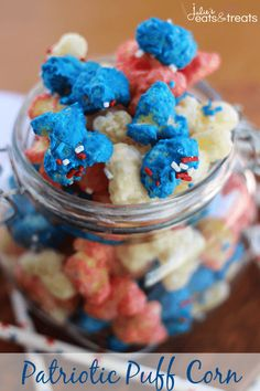 Patriotic Puff Corn Recipe ~ Light, Salty Puff Corn Drizzled in Sweet Vanilla Candy Coating! Melt in Your Mouth Deliciousness!