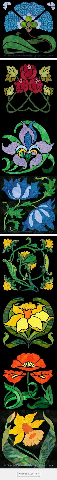 "Morning Glory Designs - Deco Gardens 12"" applique block patterns - these pdf patterns released after completetion of Block of Month quilt pattern - - created via https://pinthemall.net"
