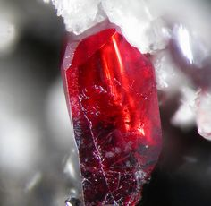 Gem red proustite crystal / Dolyhir Quarry, Wales. Never heard of this one. Beautiful!