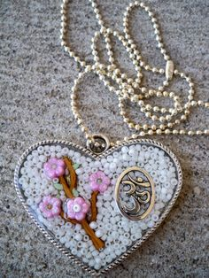 Om Cherry Blossom Resin Heart Pendant by LafayetteStGeorge on Etsy, $16.50