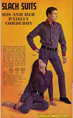 Plaid Stallions : Rambling and Reflections on '70s pop culture: Slack Suits: His and Her Paisley Corduroy