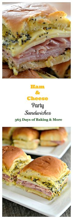 Appetizers and party food. These Ham and Cheese Party Sandwiches on Hawaiian rolls with a poppy seed, mustard spread are perfect for your Game Day entertaining! Party Sandwiches, Appetizer Sandwiches, Slider Sandwiches, Delicious Sandwiches, Hawaiian Roll Sandwiches, Hawaiian Roll Sliders, Party Appetizers, Breakfast Slider, Best Breakfast