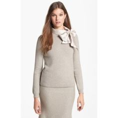 Tory Burch 'Sabine' Wool Blend Sweater Dorian Grey Small. Lush woolen yarns are smoothly knit into a relaxed-fit sweater affixed with a side-swept tie collar ......[$425.00]