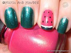 watermelon nails tutorial #kids #summer #cute