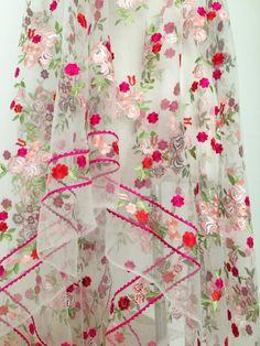 Stark bestickt floraler Spitze Stoff Gardinen Hochzeit Kleid
