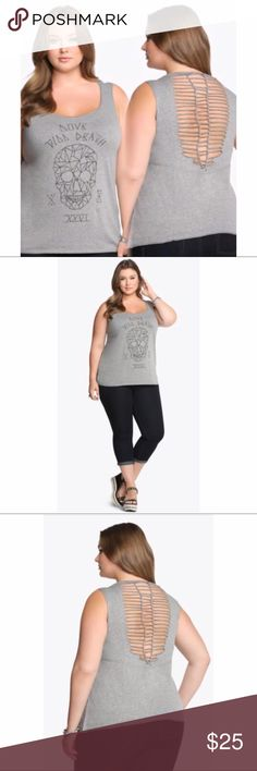 🎉HP🎉Love Till Death Skull Shredded Back Tank💀 NWT Never been worn Torrid, Love Till Death Skull Shredded Back Tank Top. Black & grey, Size 1X, Perfect for summer. Additional details attached in picture Torrid Tops Tank Tops