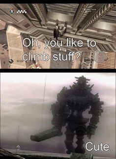 SO TRUE. Love Shadow of the Colossus... but is SUCKS climbing the colossi... D: