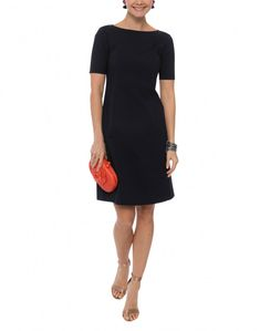 Emanuelle Navy Stretch Cotton Dress | Lafayette 148 | Halsbrook