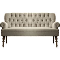 Complete your living room or den ensemble in elegant style with this eye-catching settee, showcasing tufted upholstery and rolled arms.